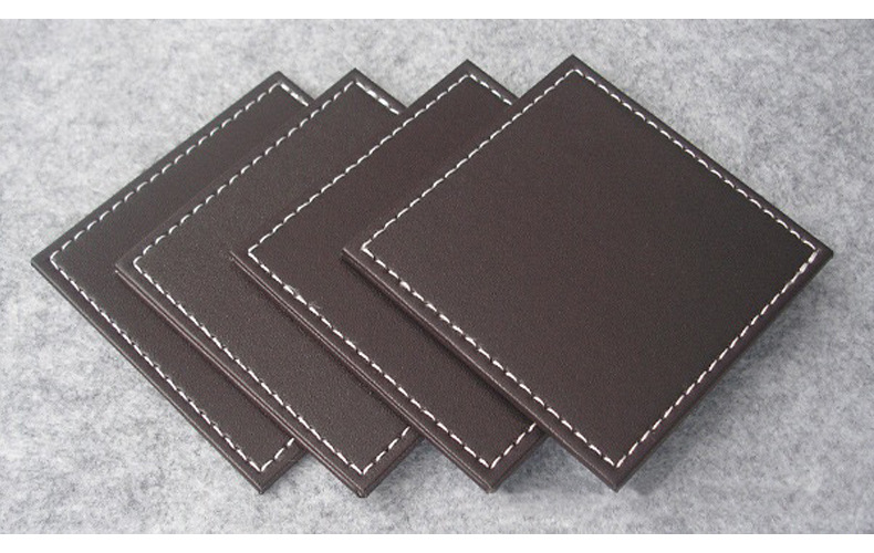 Custom home promotional gift leather coffee drink coasters