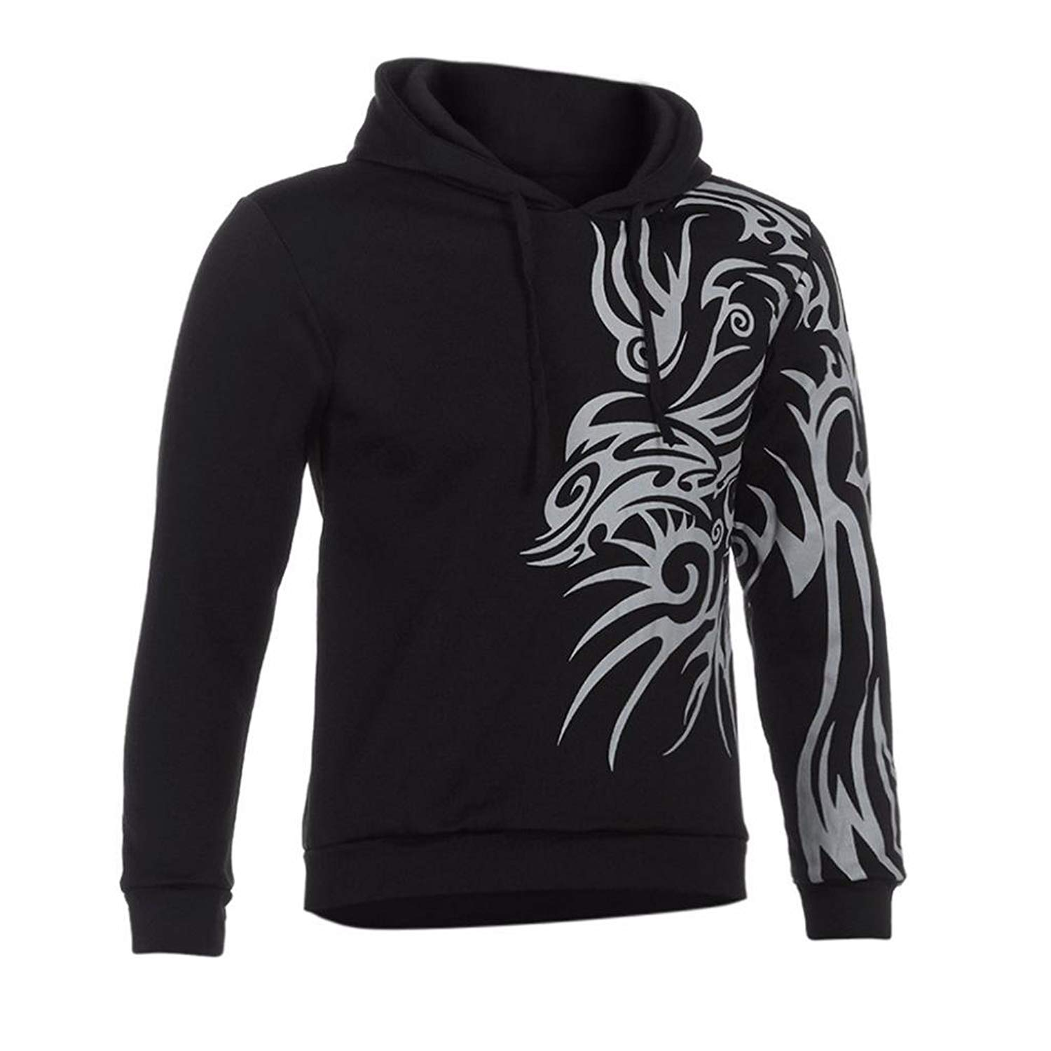 Hot Sale!Mens Hoodies,Bokeley Fashion Long Sleeve Totem Print Folk Pullover Hooded Sweatshirt Jacket Coat Outwear