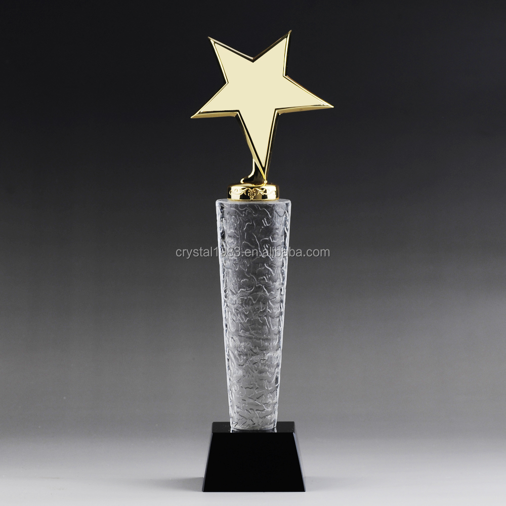 cheap glass trophy clear glass ornament with golden star