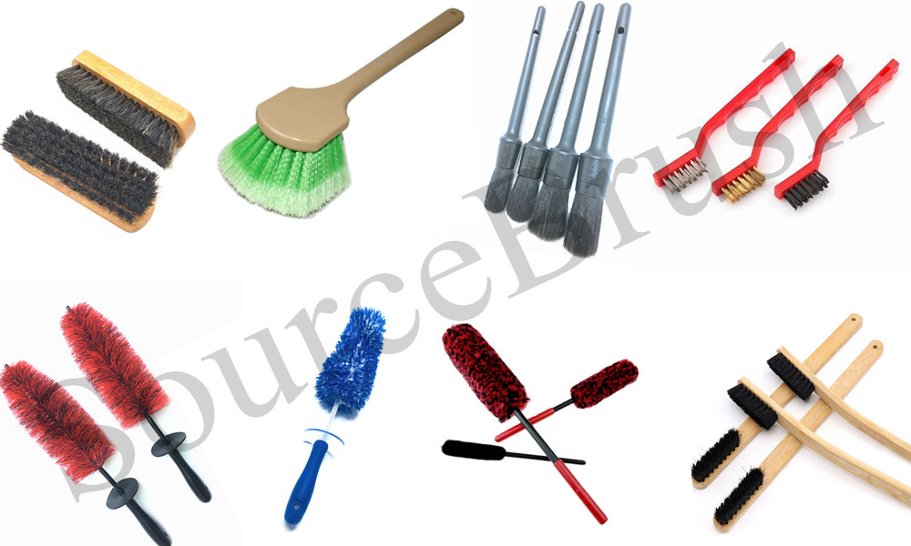 highest quality auto cleaner boar hair bristles car dust Brush for cleaning Interior Detailing wash brushes set