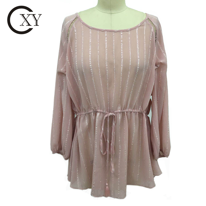 Customize New Fashion Ladies Long Sleeve Elasticated Waist Chiffon Blouse