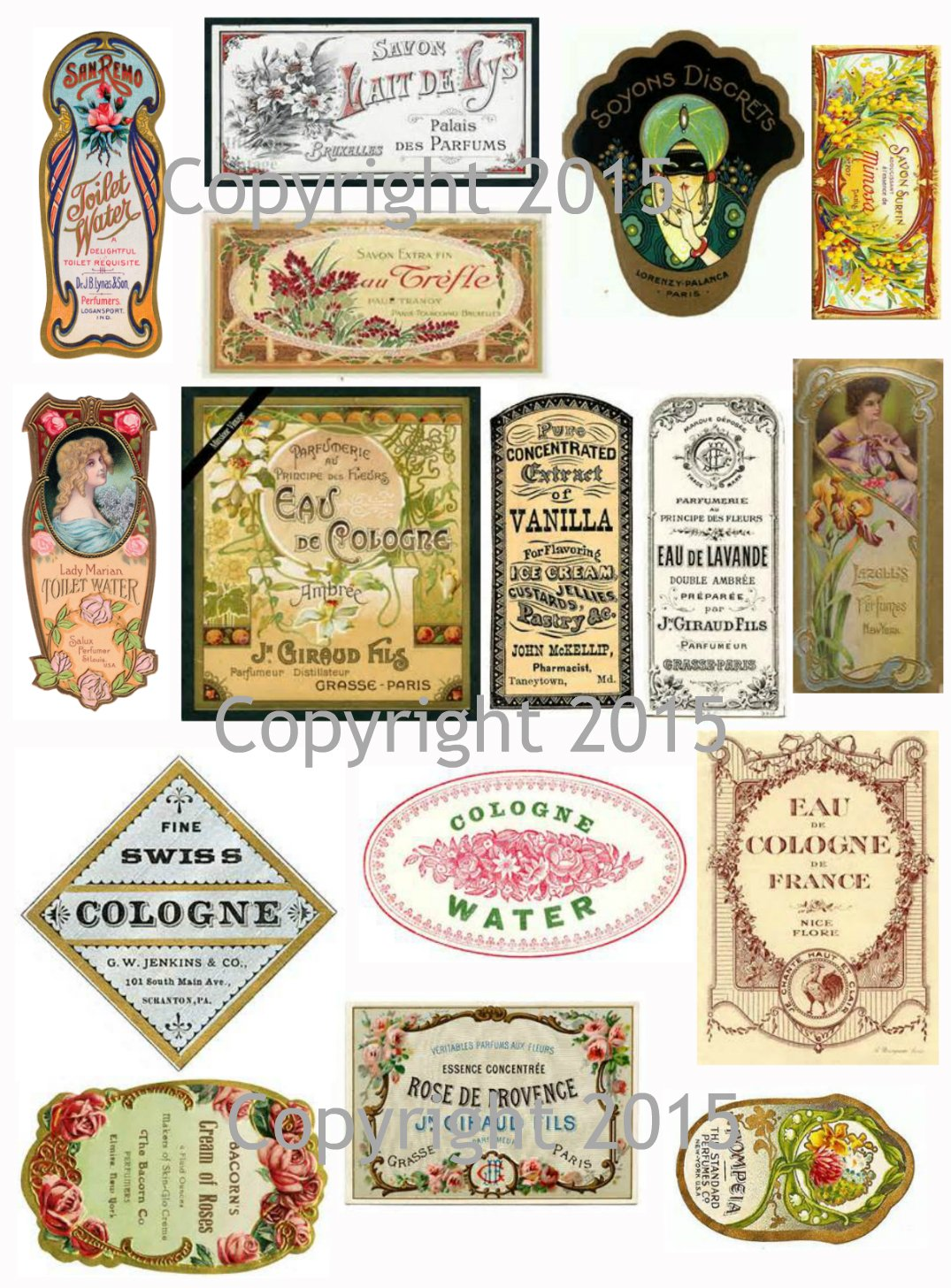 Decoupage Labels Victorian Vintage Seed Pack Flowers Large Collage Sheet #103 Scrapbooking Altered Art