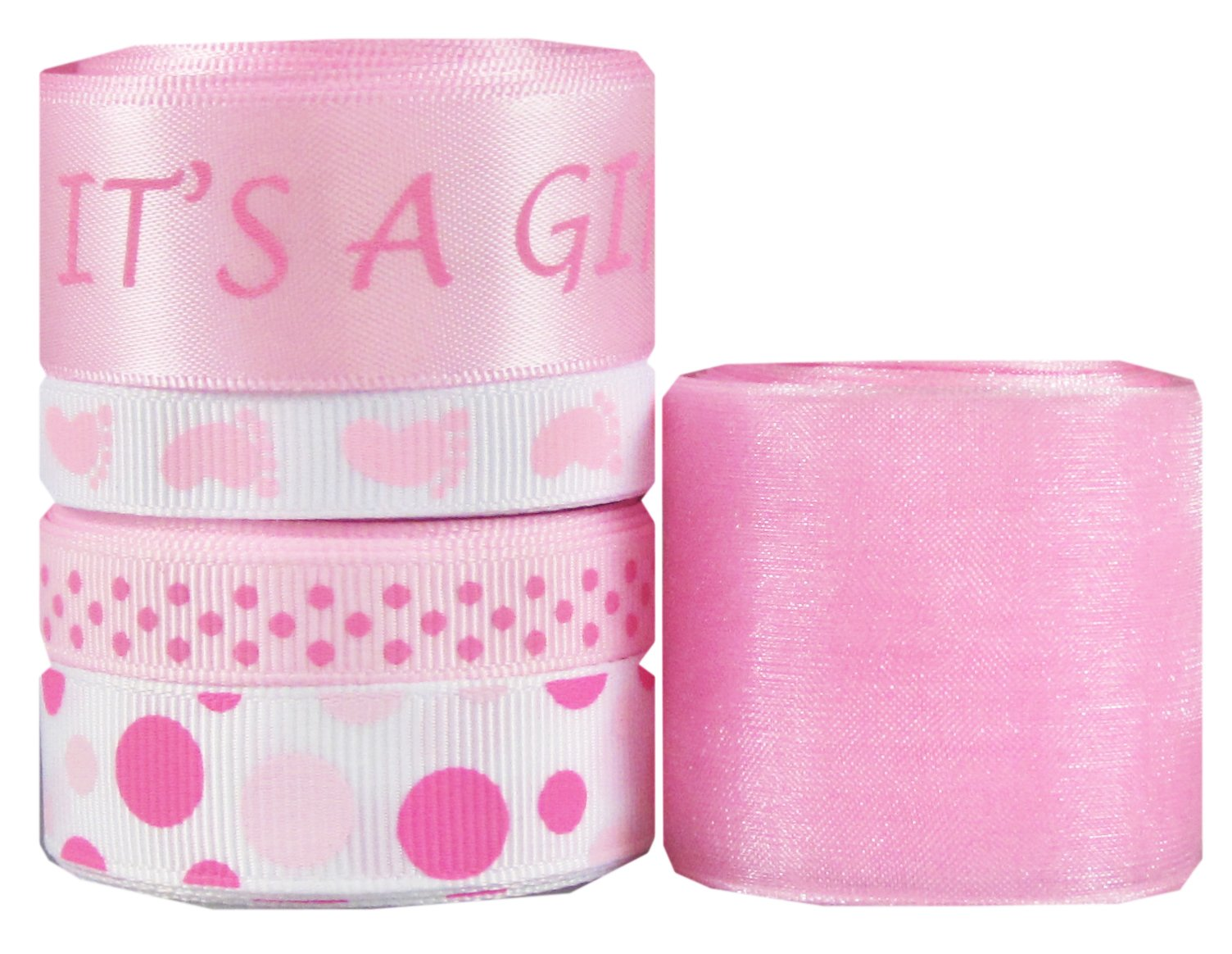 """Hipgirl 25 Yards It's a Girl Baby Shower 3/8"""" - 1.5"""" Grosgrain, Satin, Organza Sheer Fabric Ribbon Set, Foot Prints For Gift Package Wrapping, Hair Bow Clips & Accessories Making, Crafting, Sewing"""