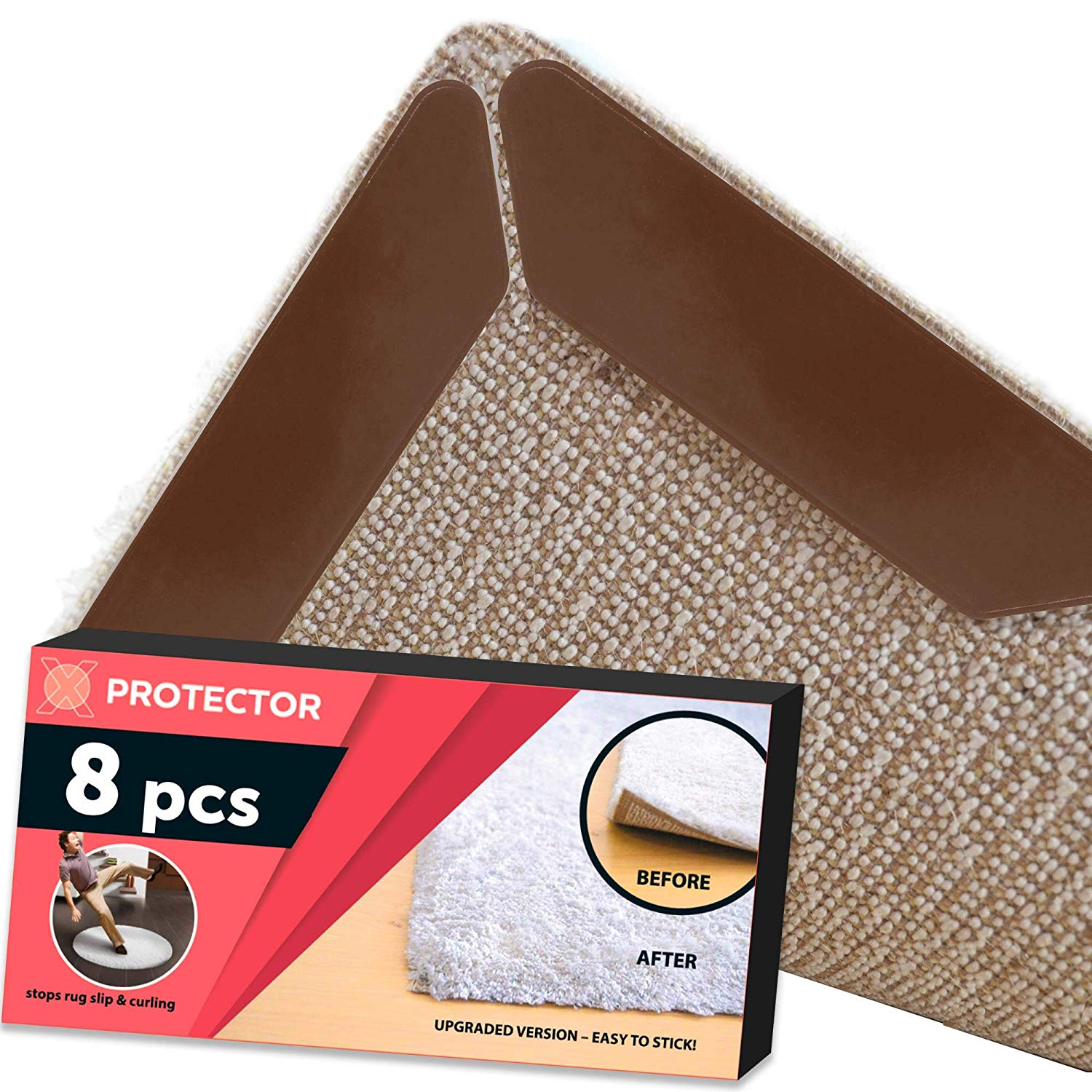 Rug Gripper X-PROTECTOR 8 Pack – Best Rug Grippers - Carpet Tape - Anti Curling Carpet Pad. Keeps Your Rug in Place & Makes Corners Flat. Premium Carpet Gripper – Anti Slip Rug Pad for Rug Non Slip!