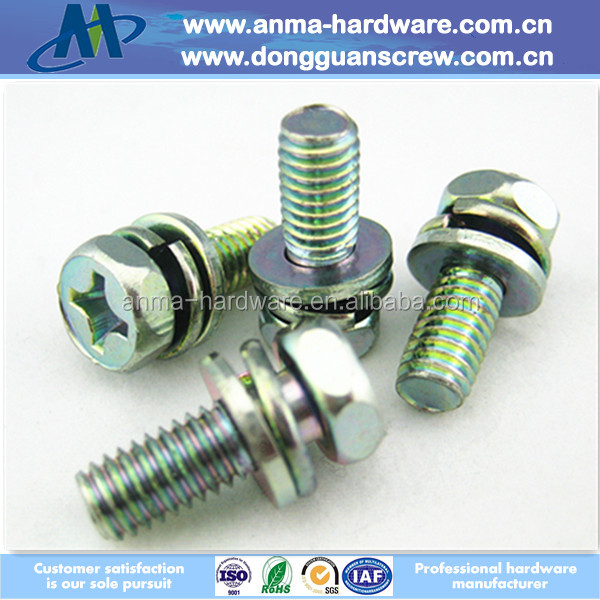 2015 Hot selling Stainless steel sems screw, Spring and flat sems screw with hex head and cross drive