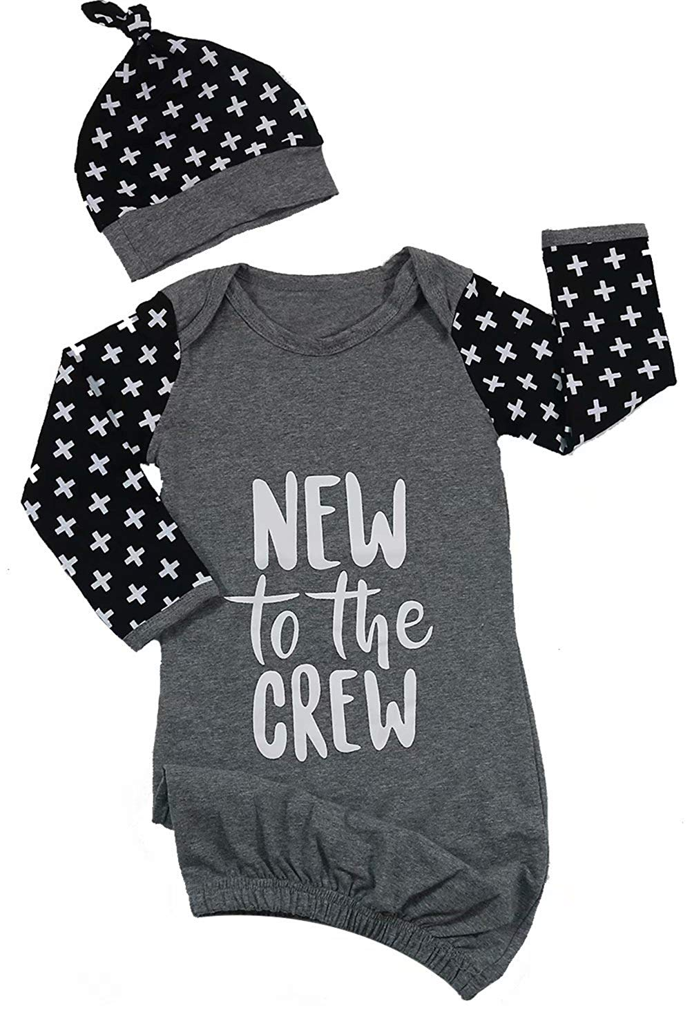 668404120 Get Quotations · Newborn Baby New to The Crew Long Sleeve Nightgown Swaddle Coming  Home Outfit 0-6