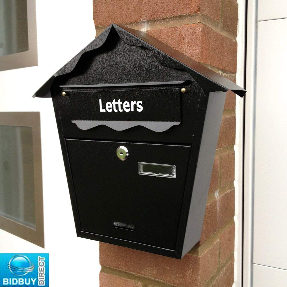 NEW - BLACK POST LETTER MAIL BOX - STEEL PLATED - WALL MOUNTED - LOCKABLE WITH 2 KEYS by Bid Buy Direct