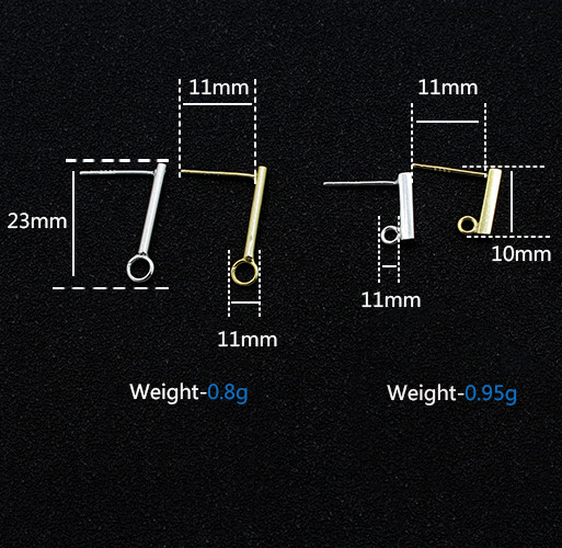 Wholesale 925 sterling silver accessory earring stud with opened ring in rectangle shape for jewelry making