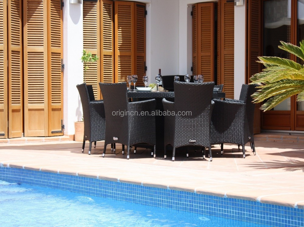 8 seater practical balcony rooftop restaurant oval rattan for Restaurants with balcony
