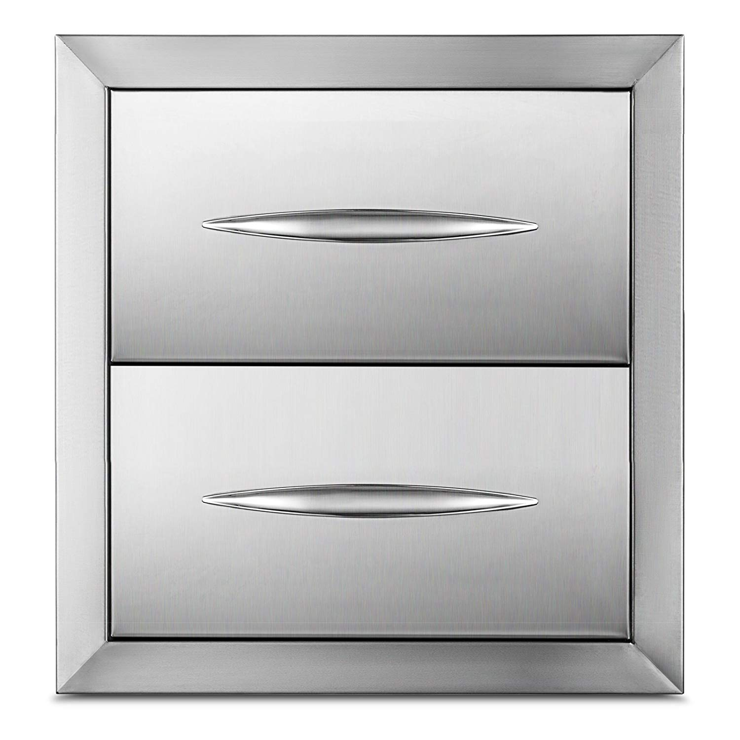 """Happybuy Outdoor kitchen drawer 18""""x15"""" Stainless steel BBQ Island Drawer storage with Chrome Handle Double Access Drawer Flush Mount Sliver Double Access Drawer (Outdoor kitchen Drawer 14.38""""x14"""")"""