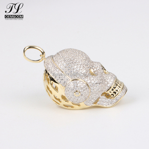 K gold silver optional pave initial charms and pendants+gold plated pendant hip hop bling jewelry