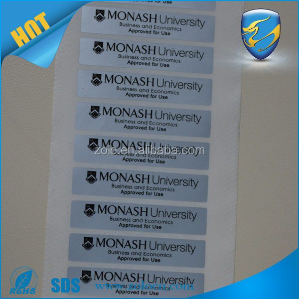 Waterproof matte silver PET/PVC adhesive stickers,thermal transfer polyester glossy label