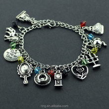 Beauty and the Beast Belle Jóias inspirado Charm Bracelet Rose Espelho Castiçal De Cristal Pendulum Beads Bangle