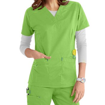 7285dc283e1 OEM Green Polyester Cotton V-neck 2 Pocket scrub suit design for women