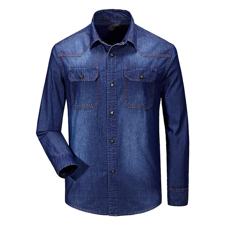 44d7780c37c Get Quotations · Mens Shirt Denim Fitted Shirt Denim Cowboy Blouse Long  Sleeve Blue Casual Button Down Shirt
