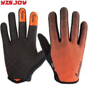 Grip full finger cycling gloves bike driving mtb riding bicycle gloves orange black