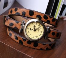 Promotion Vogue Selling Popular Cool Fashion Three times leopard's Vintage cowhide horsehide bracelet Lady watches Style LY023