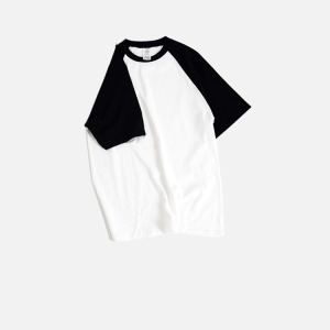 Factory stock lot two tone black and white plain shirt for printing blank raglan t shirt wholesale