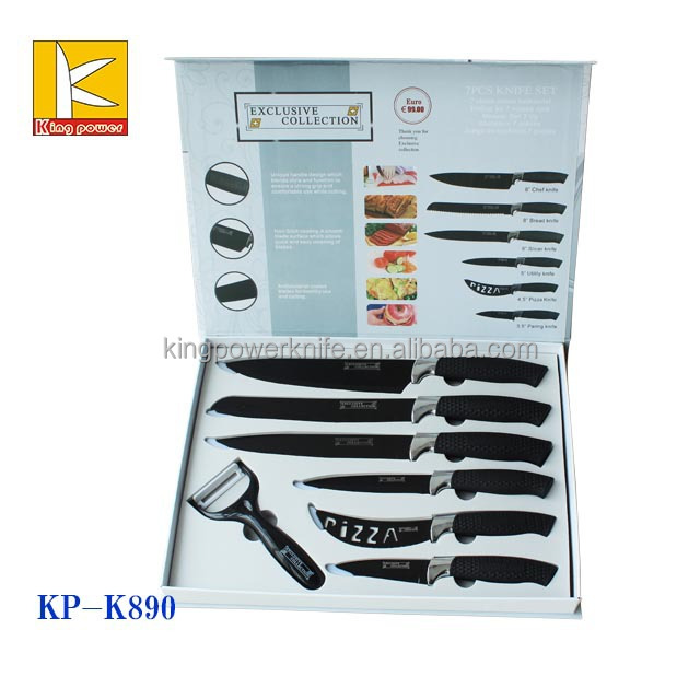 White Kitchen Knife Set 7pcs non stick kitchen knife set with white color painting - buy