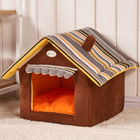 PDERIN89 New Fashion Striped Removable Cover Mat Dog House Dog Beds For Small Medium Dogs Pet Products House Pet Beds for Cat