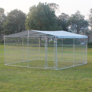 Large outdoor galvanized metal pet enclosure dog cage with roof