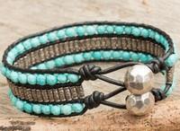 Hill Tribe Beaded Wristband Bracelet Layered Turquoise Beads Bracelet