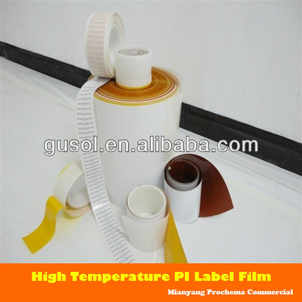 PI Lable polyimide label film for PCB ID,steel parts ID adhesive label and hang tag