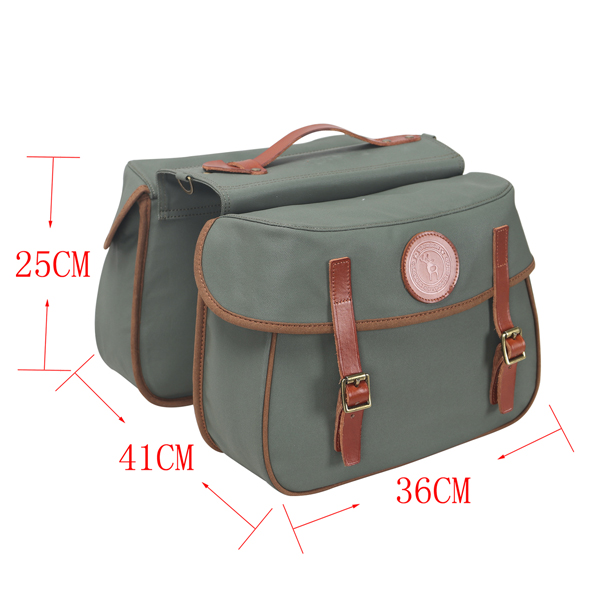 Waterproof Canvas and Genuine Leather Messenger Shoulder Bag Folding Bike Bag for Cycling