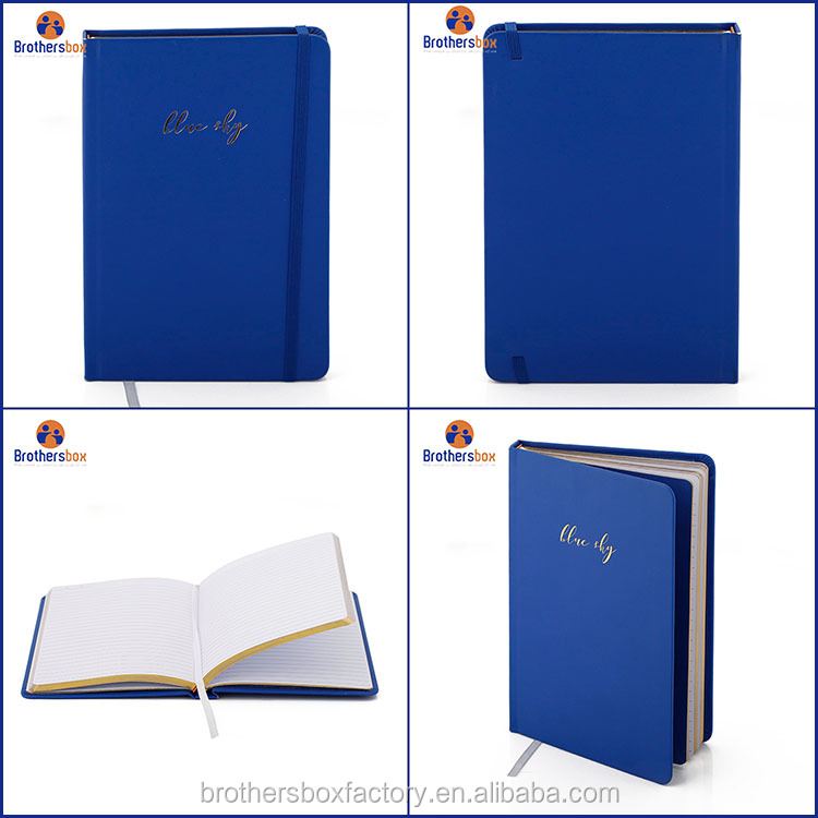 china products custom bule leather notebook agenda diary journal stationary planner notebook a4 school