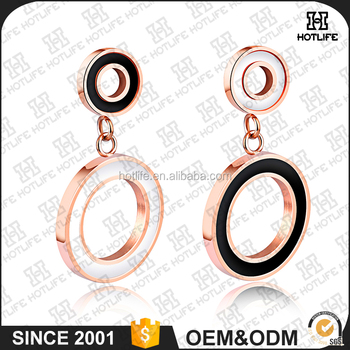 2017 latest design young girls rose gold circle stud earrings View