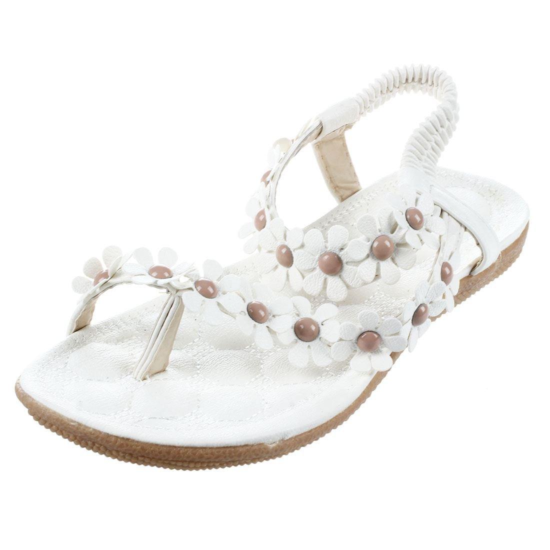 SODIAL(R) New Flip-flop sandals open toe flip women's shoes flat flats bohemia flower beaded soft outsole sweet for women 669 white US6=EUR36=feet length 23CM
