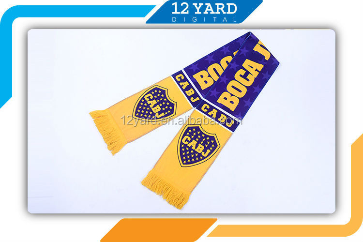 High quality sublimate custom football scarf Boca Juniors soccer scarf