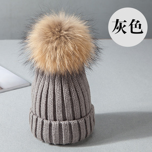 e649b15bced 100% Real Raccoon Fur Pom Poms With Snap Button For Beanie Hat