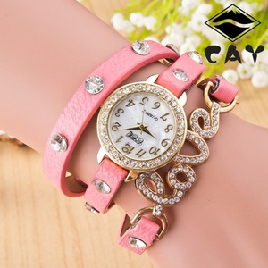 2907 Love pendant geneva analog quartz wrist watch friendship bracelet watch woman timepiece