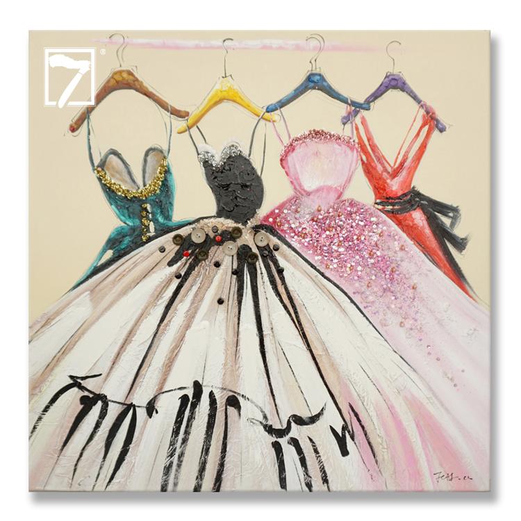 Moda Kroki Elbise Resim Boyama Kiz Onluk Cerceveli Yagliboya