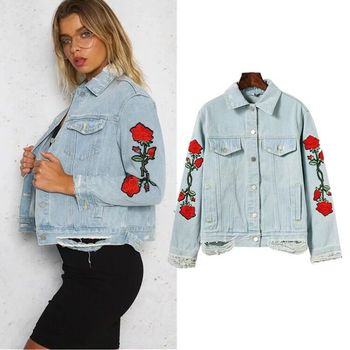 Women Rose Embroidery Blue Washed Wholesale Denim Jackets Suppliers