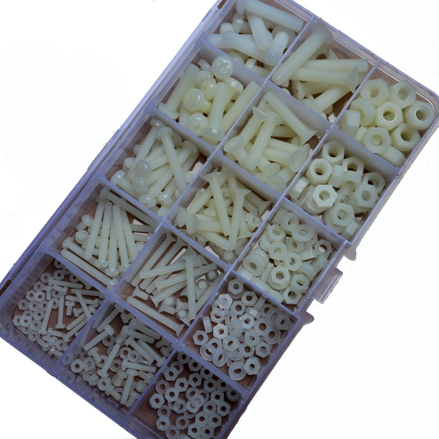 Agile-shop 420Pcs Nylon Plastis Screw Nut Washer Assortment Kit M2 M2.5 M3 M4 M5 M6