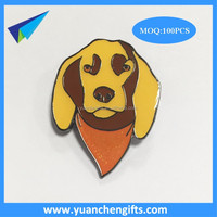 Enamel dog lapel pin with text stamp