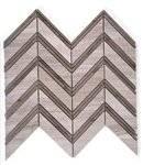 "Soho Chevron Weave Wooden Beige Athens Gray - 10 1/2"" x 12"" - 4 Rows/Sheet"