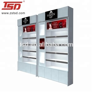 Factory custom cosmetic display cabinet and showcase,cosmetics display units,design furniture cosmetics shop