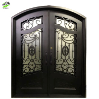 Wholesale Affordable grill design Outdoor Double black Entrance wrought iron door