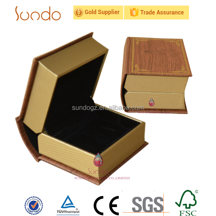 unique book shape printing paper jewelry box with logo