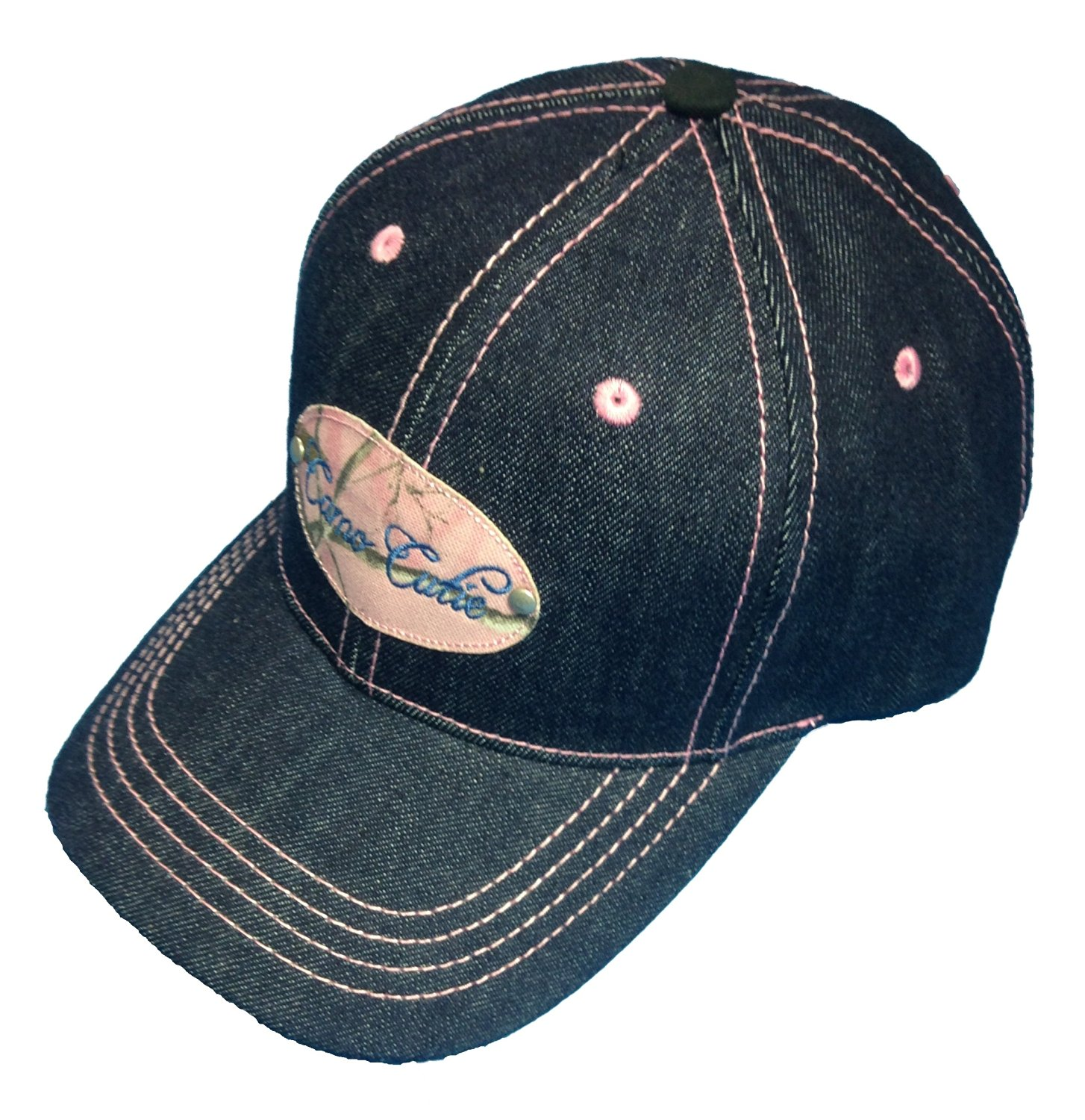 Womens Denim Cap Camo Cutie Cap Ladies Blue Hat with Pink Camo Logo and Trim 607f5f0cc4