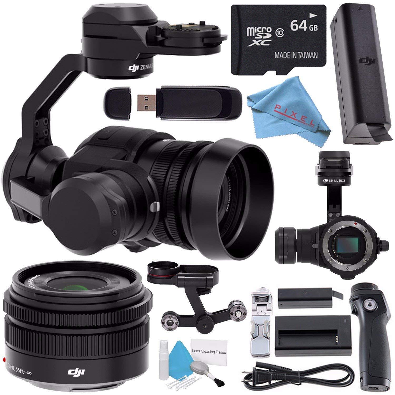 DJI Zenmuse X5 Camera and 3-Axis Gimbal with 15mm f/1.7 Lens + DJI Osmo Handle Kit + DJI Osmo X5 Adapter + DJI Osmo Intelligent Battery (High Capacity) + 64GB microSDXC + Fibercloth Bundle