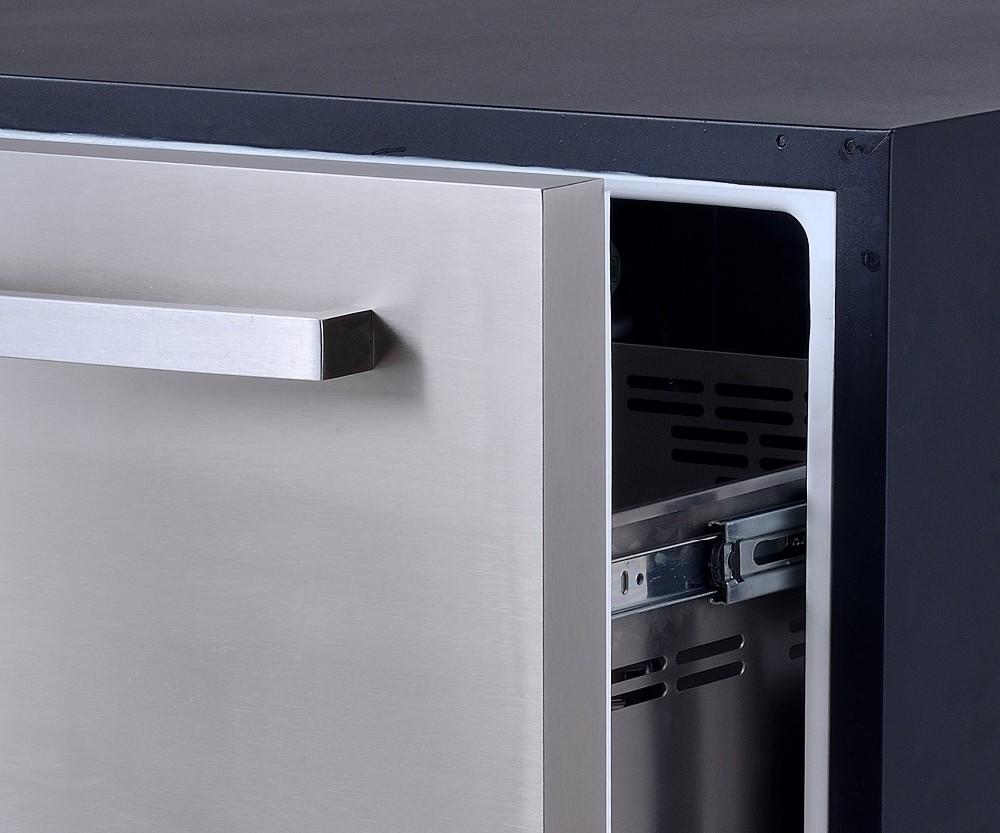 Mini Kühlschrank Zum Einbauen : L elektronischer mini schubladen kühlschrank aus edelstahl
