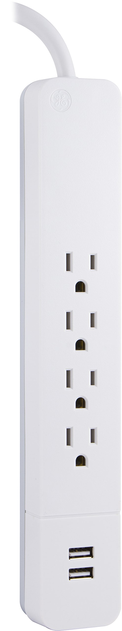 GE Power Strip Surge Protector, USB Charger, 4 Outlets, 2 USB Ports, Fast Charge, Flat Plug, Long Cord, 3ft, White, 37212
