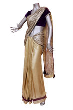 Indian saree in sequins and shimmer.Stitched pallu