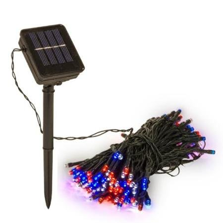 DeVida Patriotic Red White Blue Solar String Lights Decorations, Outdoor Memorial Day, 4th of July Decor, Waterproof 100 Mini 2 Mode LED Strand Set for Patio, Tent, Camping, RV (Red White Blue)
