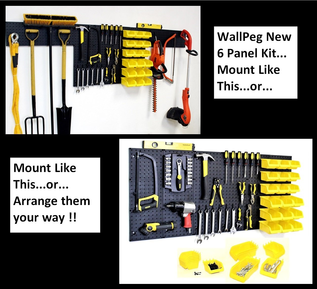 "WallPeg 24"" / 80"" Wall Mounted Garage Storage System with Panels, Bins, Pegboard Hooks and Panel Set - Tool Parts and Craft Organizer"