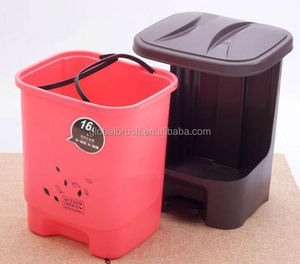 HQ2365 colorful PP dustbin pictures pedal rubbish bin with cover for indoor clean